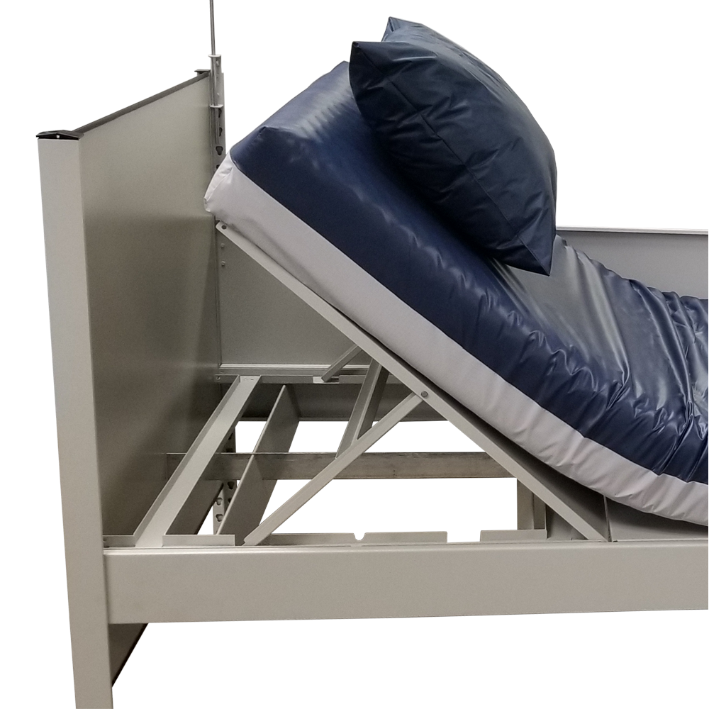 Temporary Bed image of incline mechanism fully assembled for 5 angled position with IV bag holder on white background
