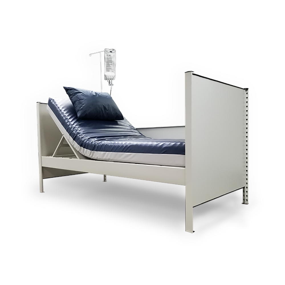 Temporary Bed Fully assembled incline bed with IV bag holder image on white background