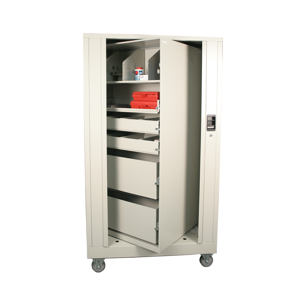 Temporary Bed image of Rolling medical cart on white background showing medical paraphernalia with half rotated cabinet
