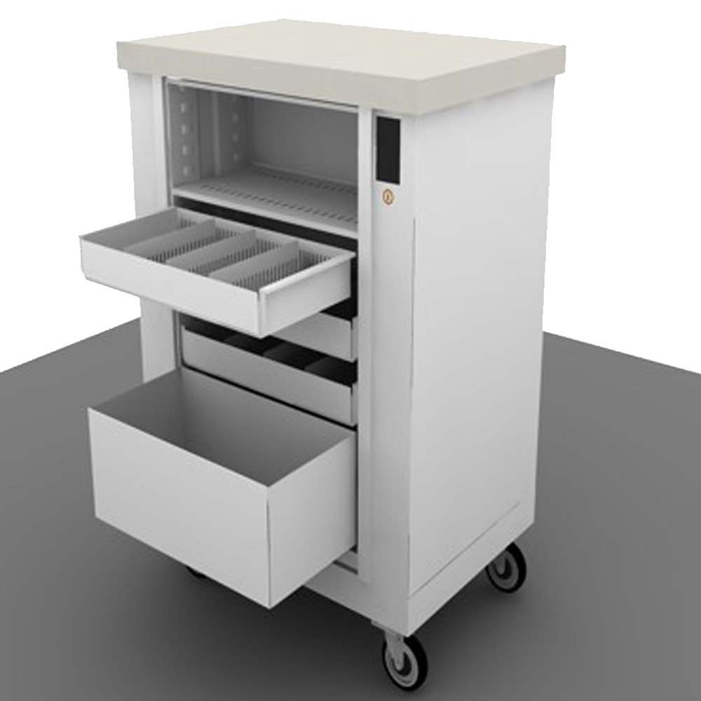 Temporary Bed image of Rolling medical cart on white background showing with full extended drawers