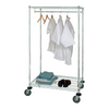 Temporary Bed image of wire shelving wardrobe on caster with white background