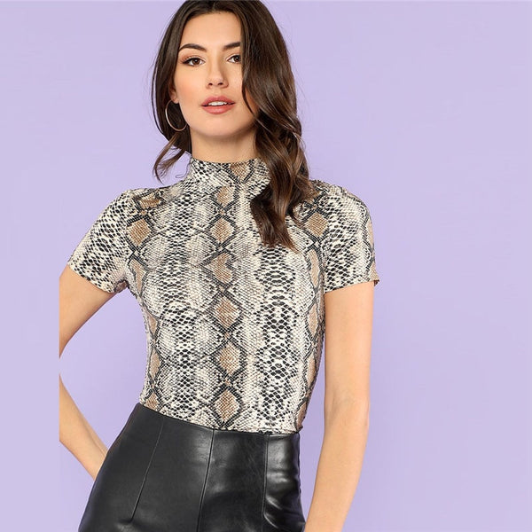 Mock Neck Snake Print Casual Tee