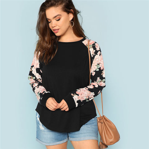 Black Floral Sleeved Top
