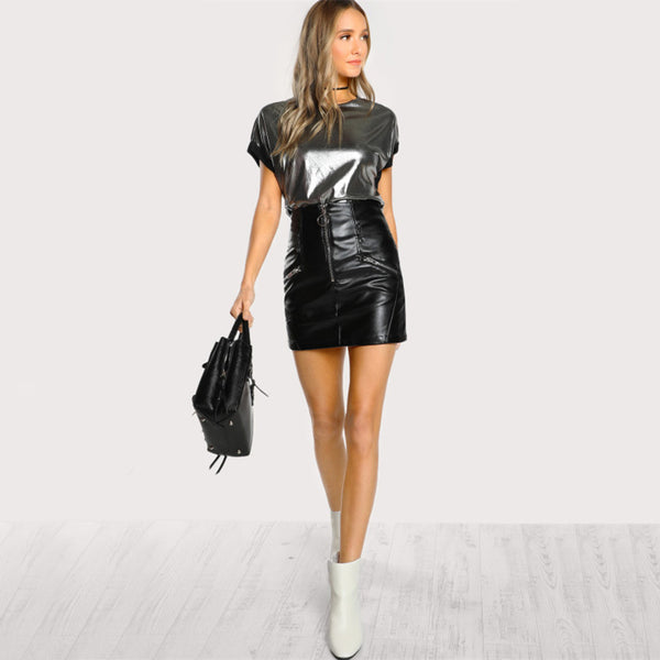 Metallic Contrast Cuff Short Sleeve Top