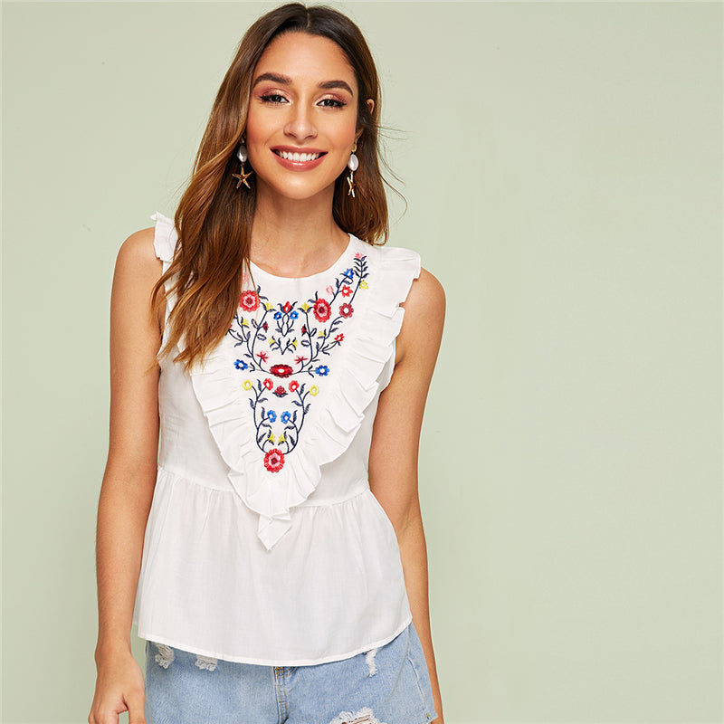 Solid Floral Embroidered Contrast Sleeveless Top
