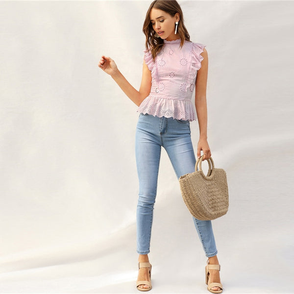 Solid Laser Cut Contrast Ruffle Trim Top