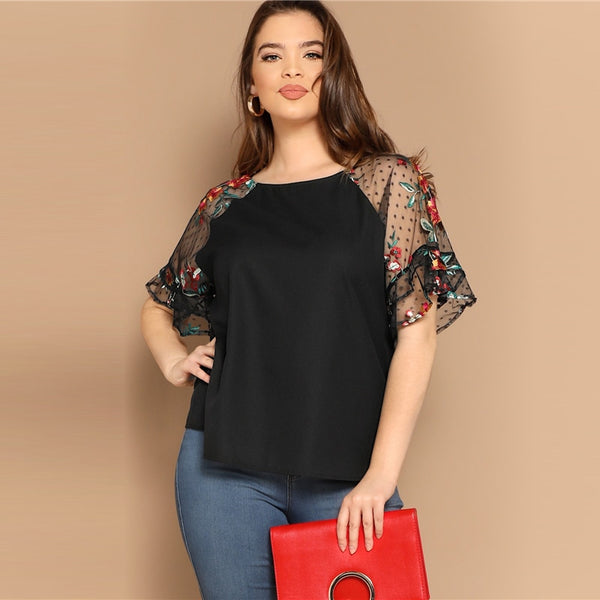 Black Floral Mesh Sleeve Top