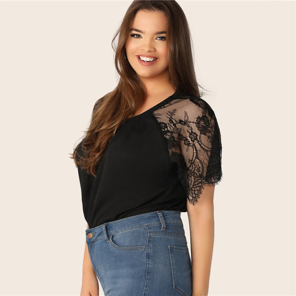 Black Floral Lace Sleeve Top
