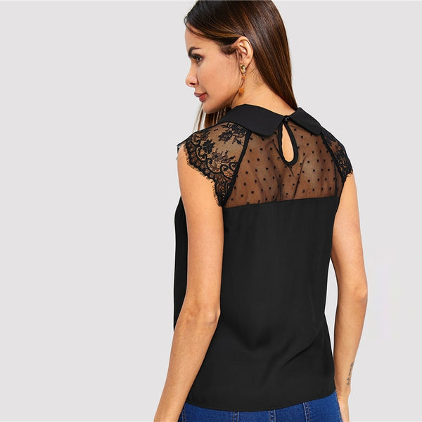 Solid Contrast Mesh Lace Collared Top