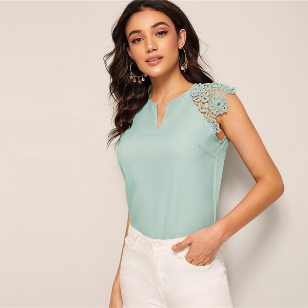 Solid Contrast Lace Notched Neck Top