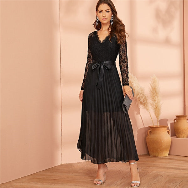 Black Lace Pleated Sheer Dress