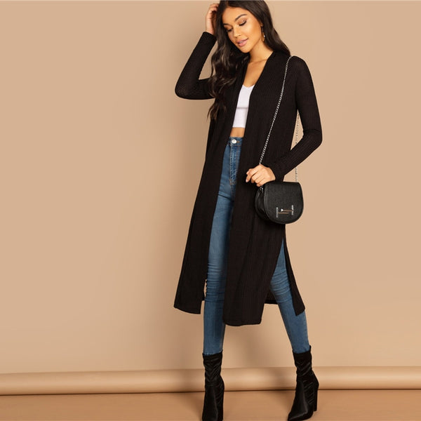 Solid Open Front Split Side Long Cardigan