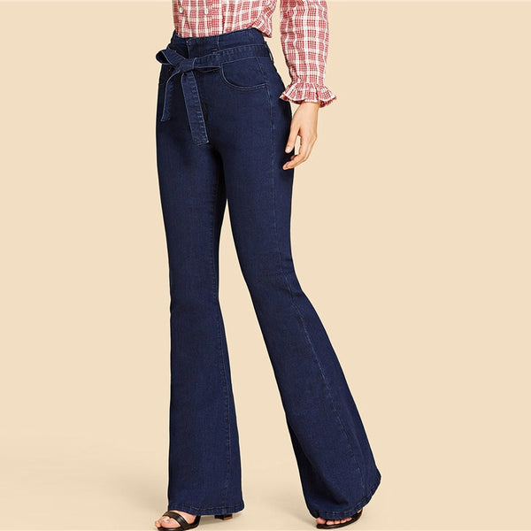 Denim High Waist Belted Flare Leg Jeans