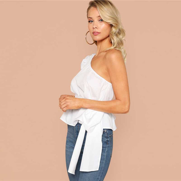 Solid One Shoulder Puff Sleeve Belted Top
