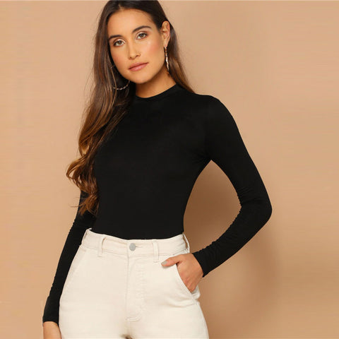 Solid Mock Neck Long Sleeve Top