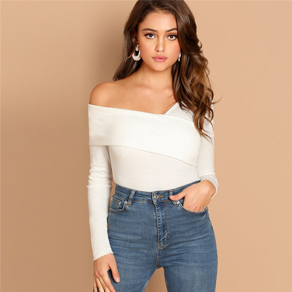 Solid Asymmetrical Neck Slim Fit Top