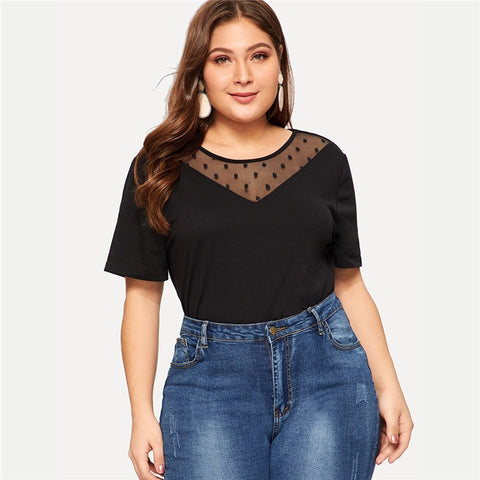 Black Polka Dot Sheer Mesh Top
