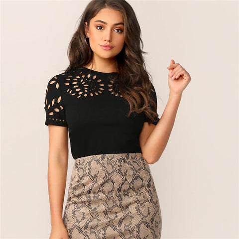 Solid Laser Cut Short Sleeve Top