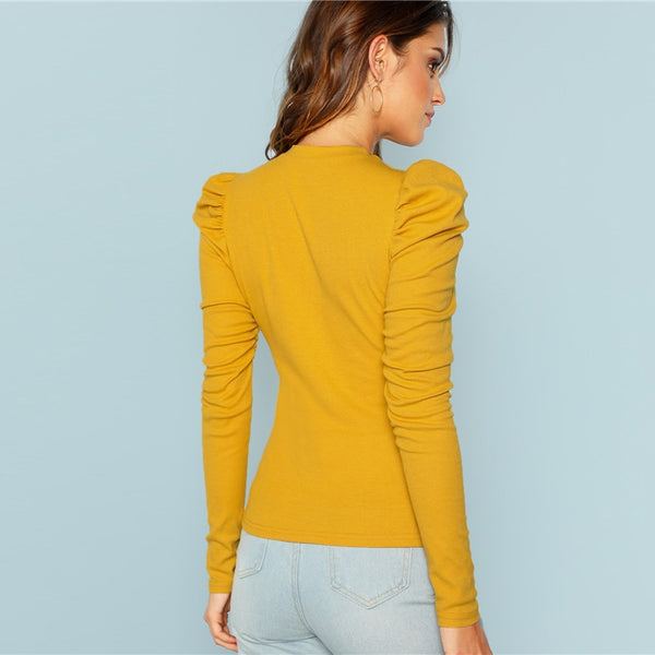 Solid Long Puff Sleeve Top