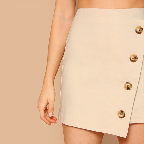 Solid Button Detail Wrap Skirt