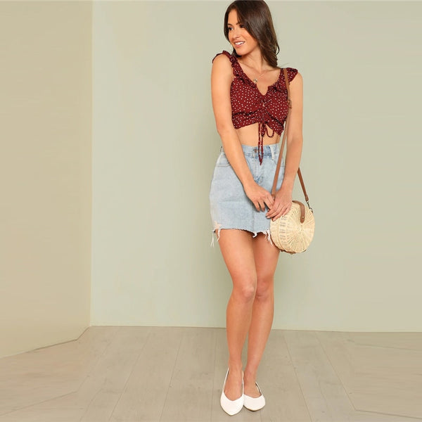 Polka Dot Drawstring Front Ruffle Strap Crop-Top