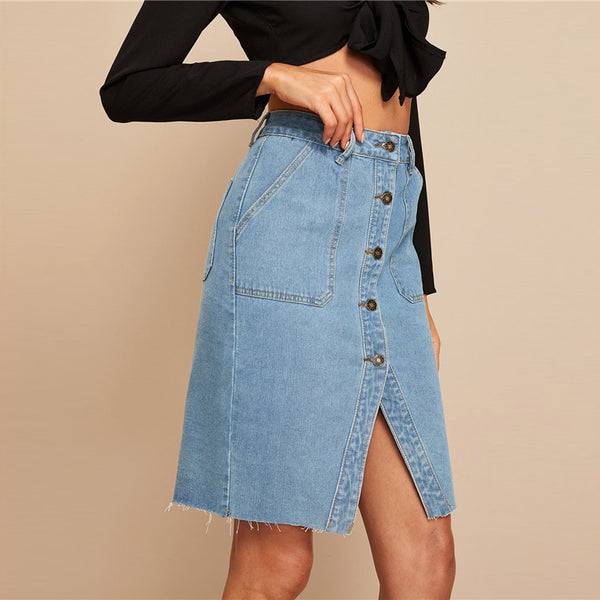 Denim Button Front Slit Hem Pocket Patch Skirt