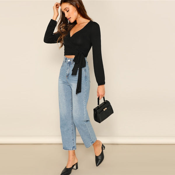 Solid Knotted Sash Crop-Top