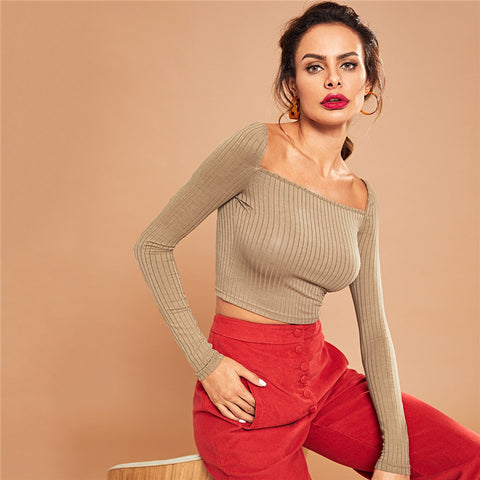 Solid Square Neck Long Sleeve Crop-Top