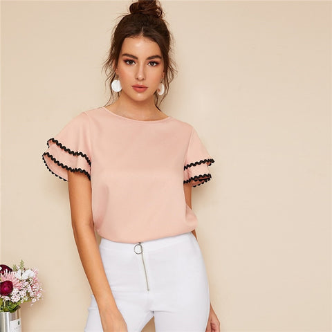 Solid Layered Sleeve Contrast Wave Trim Top