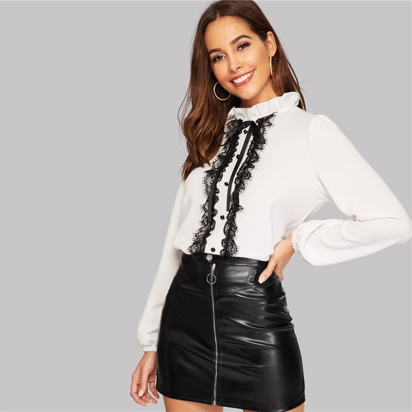 Ruffled Neck Lace Trim Keyhole Back Buttoned Top