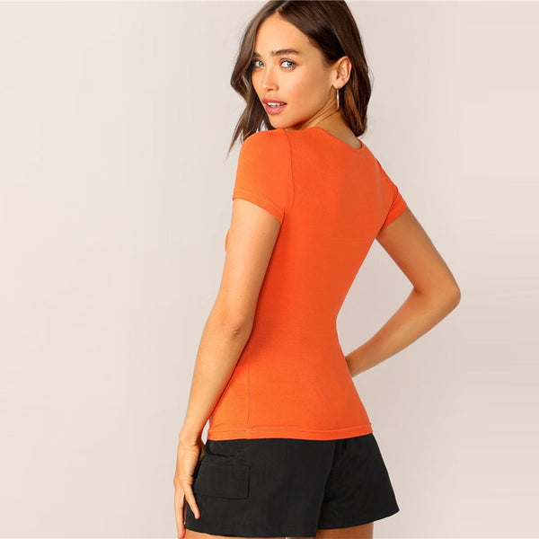 Solid Push Buckle Cutout Front Tee