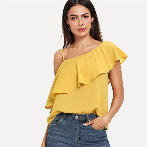 Solid Asymmetrical Neck Flounce Trim Top