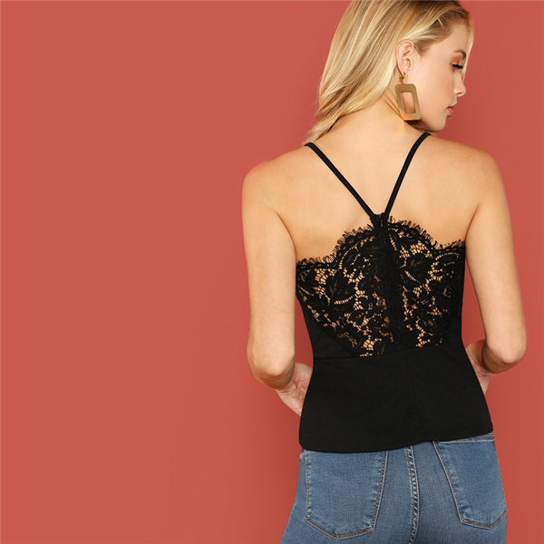 Solid V-Strap Lace Back Cami Top