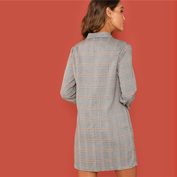 Plaid Double Buttoned Long Sleeve Extended Blazer Jacket