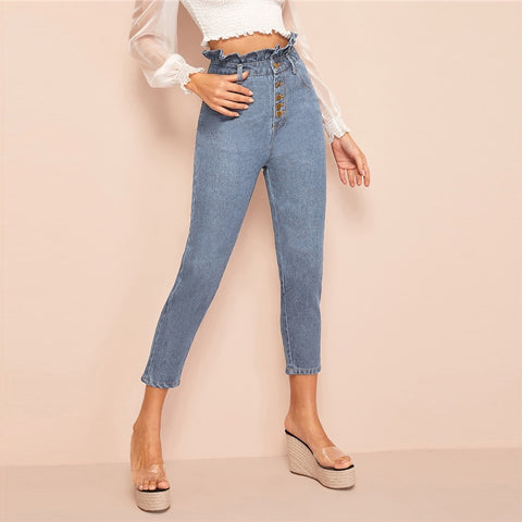 Light Wash Denim Button Fly Ruffle Waist Jeans
