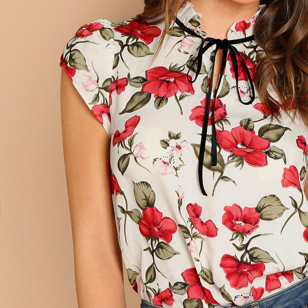 Multicolor Tie Neck Ruffle Armhole Floral Top