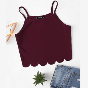 Solid Scallop Hem Crop-Top