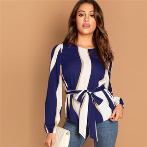 Striped Hanging Neck Belted Top