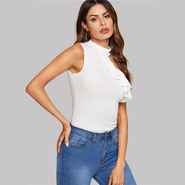 Solid Asymmetrical Cutout Ruffle Trim Top