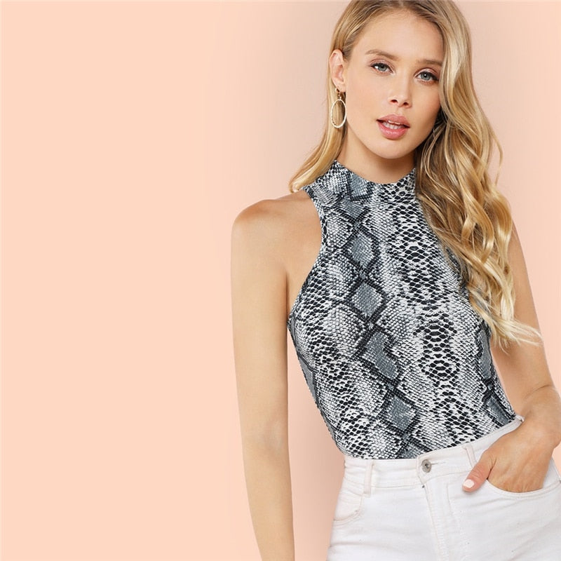 Snakeskin Mock Neck Halter Top
