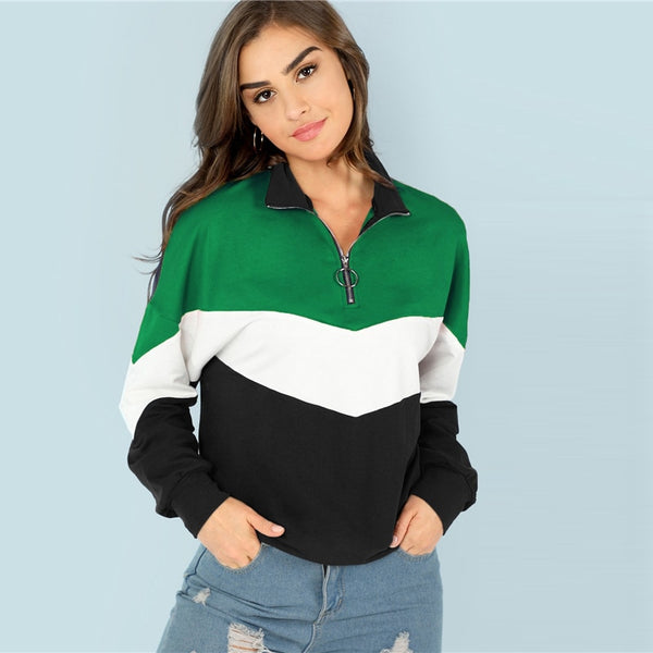 Tri-Color O-Ring Quarter Zip Sweater