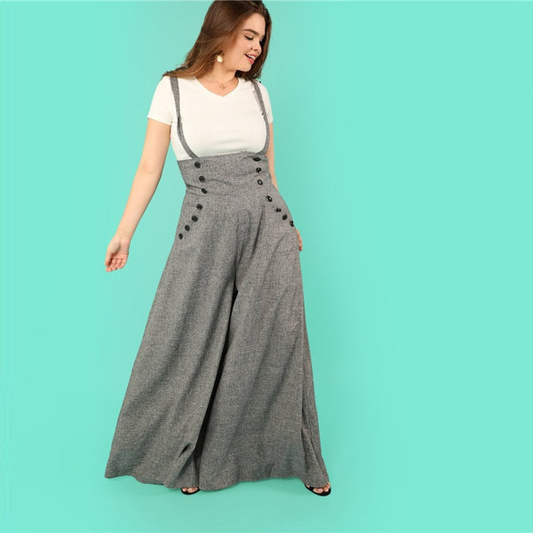 Gray High Waist Wide Leg Strapped Jumpsuit