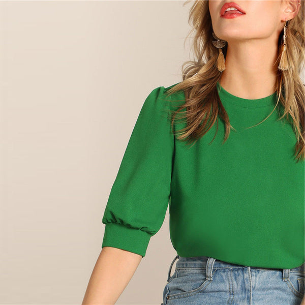 Casual Puff Sleeve Keyhole Back Solid Top