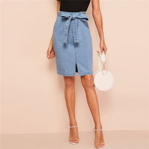 Denim Slit Front Belted Skirt