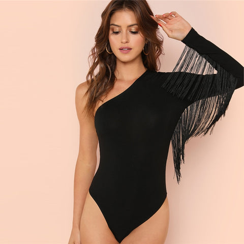 Solid Tassel Trim One Shoulder Long Sleeve Bodysuit
