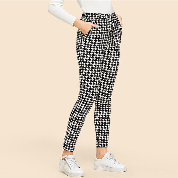 Houndstooth Mid Waist Belted Pants
