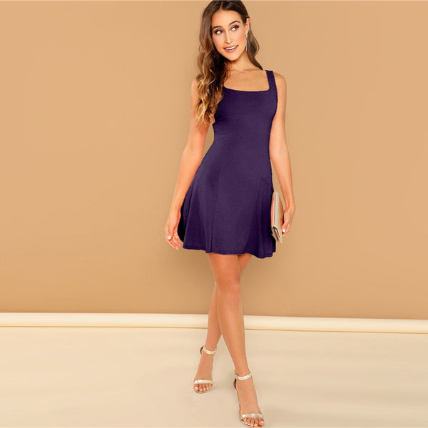 Fit And Flare Solid Dress