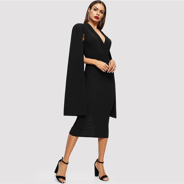 Cape Sleeve Shawl Split Hem Maxi Dress