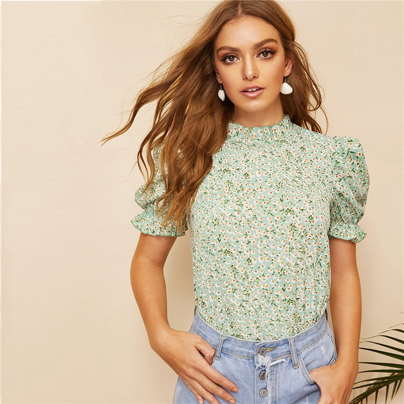 Floral Frill Trim Puff Sleeve Top