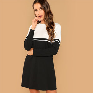 Color Block Long Sleeve Dress